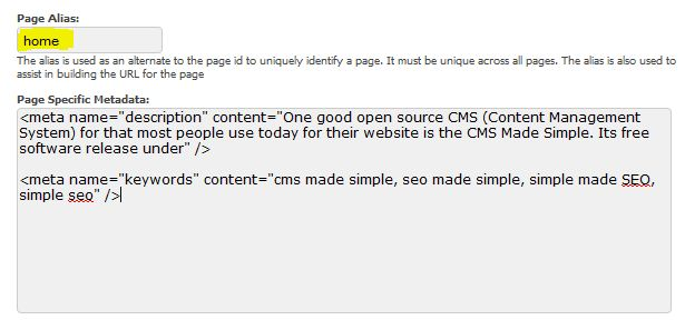 CMS Made Simple Meta Tags Editing 2