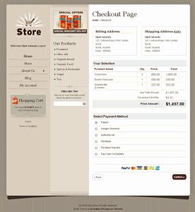Wordpress Shopping Cart Store Checkout Page