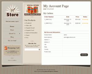 Wordpress Shopping Cart Store Account