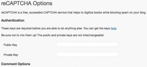 reCAPTCHA Option setting in WordPress Admin