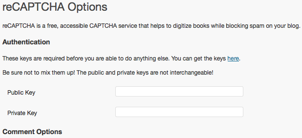 reCAPTCHA Option setting in WordPress Admin