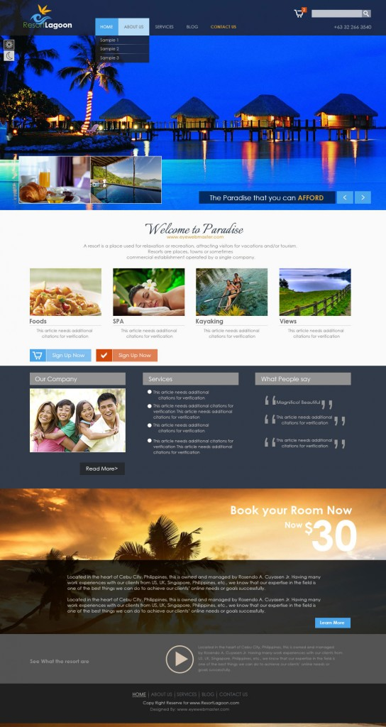 Philipines Resort Hotel Web Designs Eyewebmaster